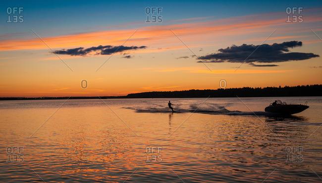 Man water skiing, Lulea, Lapland, Sweden