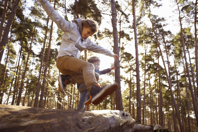 Twin brothers jumping over fallen tree trunk in forest