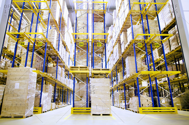 Pallets and shelves in distribution warehouse