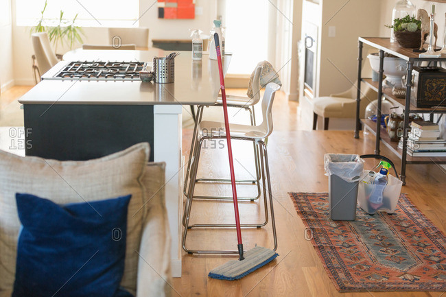 Cleaning home with green cleaning products