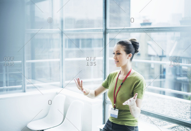 Young woman conducting training presentation