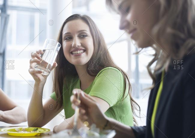 Businesswomen enjoying lunch