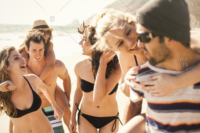 Group of friends on vacation at beach