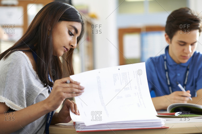 Male and female student working on files in class