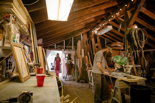Wood artists working in workshop