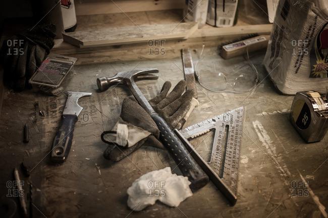 Still life of tools in artist's workshop