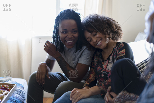 Female friends relaxing at home