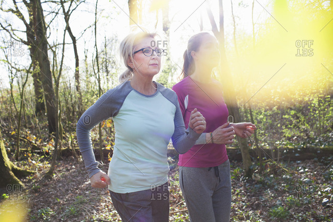 Women jogging in forest