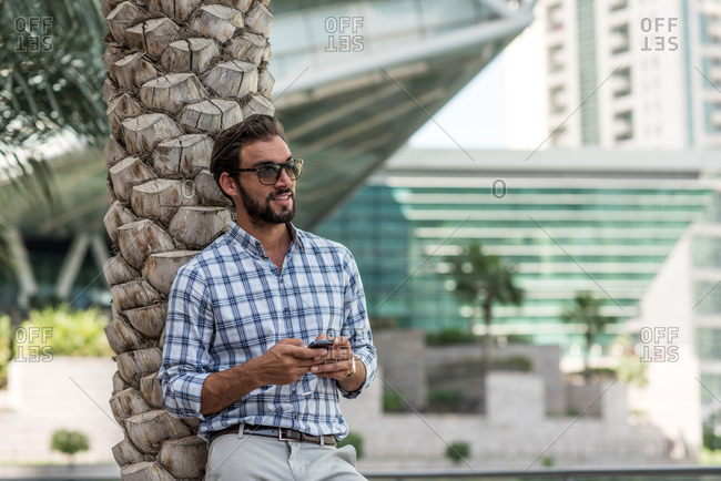 Young man leaning against palm tree using smartphone, Dubai, United Arab Emirates
