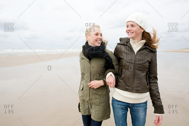 Female friends by the sea