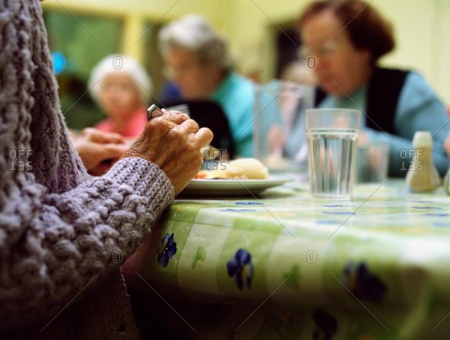 Seniors having dinner