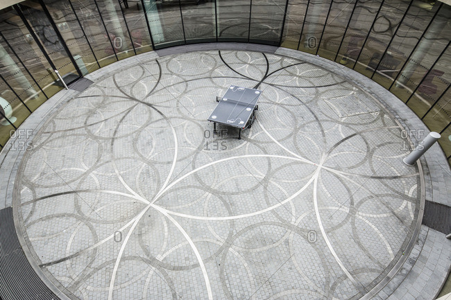 Centenary Square, the Library of Birmingham (architect Francine Houben), a table tennis table in a courtyard