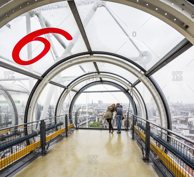 Beaubourg, Centre Pompidou, the end of the escalators and the town