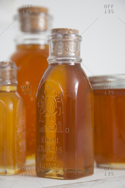 Bottles filled with honey