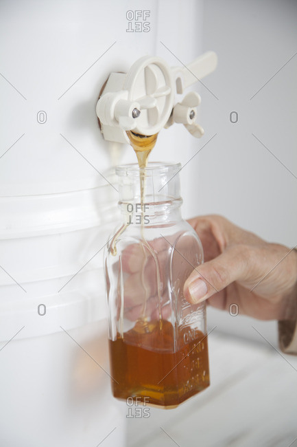 Filling up jar with filtered honey