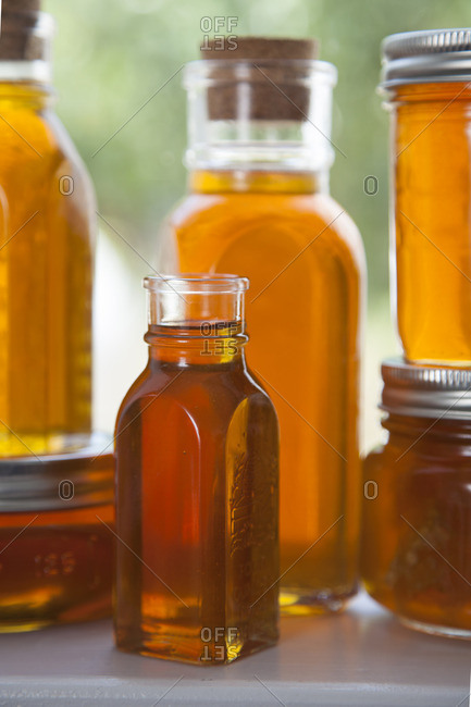 Containers filled with honey