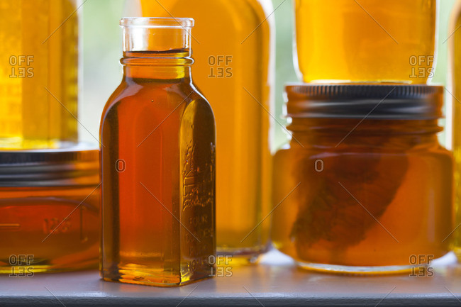 Jars filled with honey