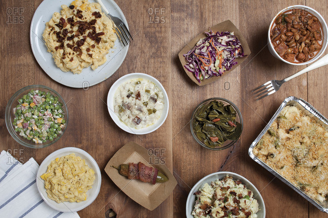 Various Southern food dishes