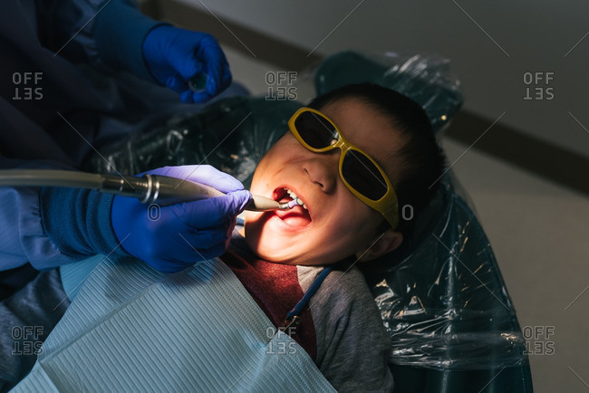 Boy visiting the dentist
