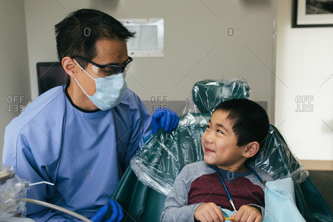 Smiling boy and his dentist