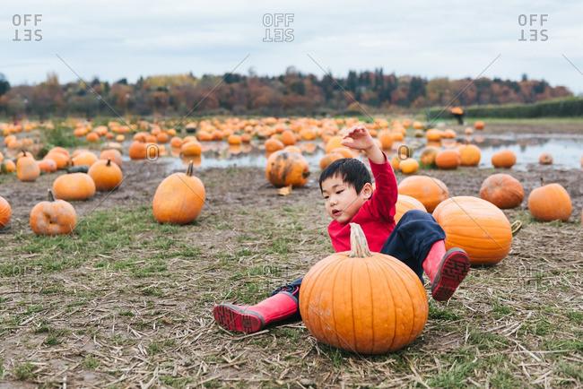 Boy falling off pumpkin in field