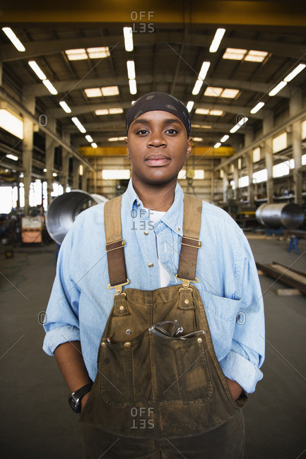 African female worker in warehouse