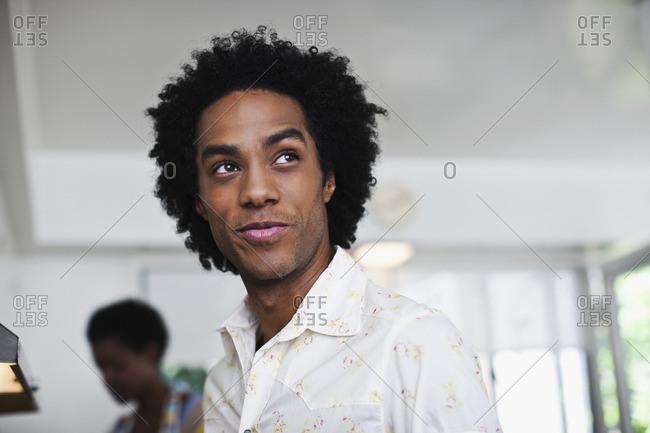 Mixed race man smiling - Offset
