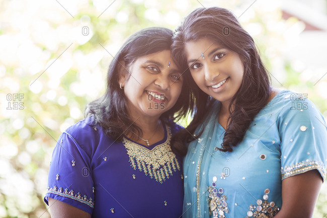 Indian mother and daughter in traditional clothing
