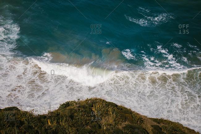 Ocean waves off a shoreline