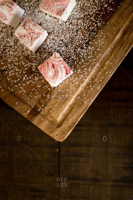 Marshmallow bars on a cutting board