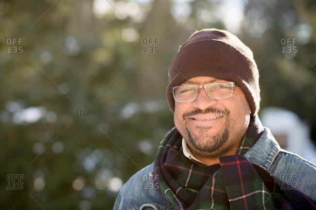 Man in glasses outside in winter