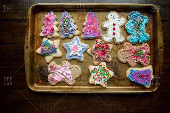 Frosted Christmas cookies in pan