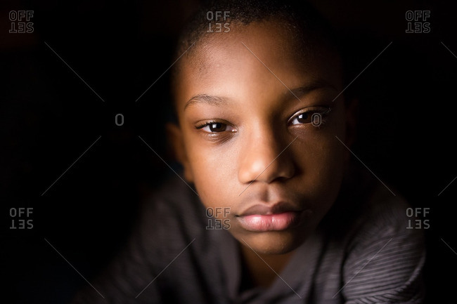 African American boy in close up