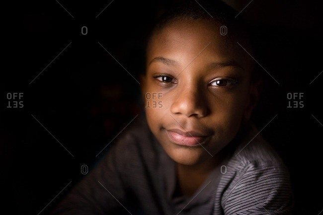 African American boy smiling in close up