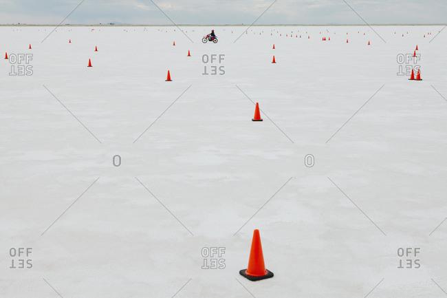 Traffic cones on race course, Bonneville Salt Flats, during Speed Week.