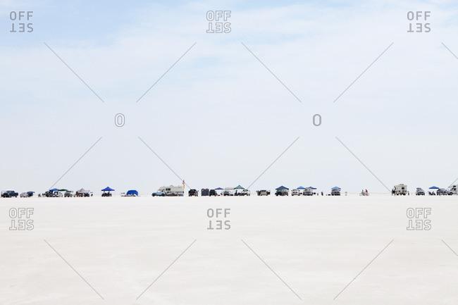 Bonneville Salt Flats, Utah, USA - August 12, 2012: Spectators lined up on Bonneville Salt Flats during Speed Week