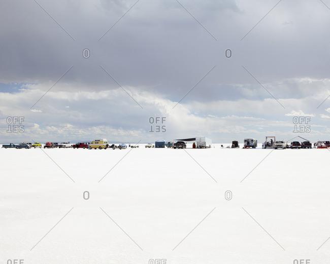 Bonneville Salt Flats, Utah, USA - September 14, 2010: Row of spectators on Bonneville Salt Flats, during Speed Week