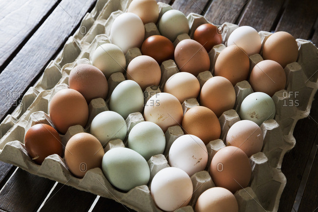 A tray of fresh organic eggs, in a variety of colors.