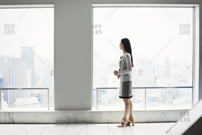 A business woman in a dress by a window with a view over a city