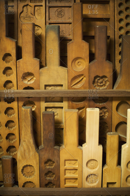Traditional wooden moulds for different varieties.