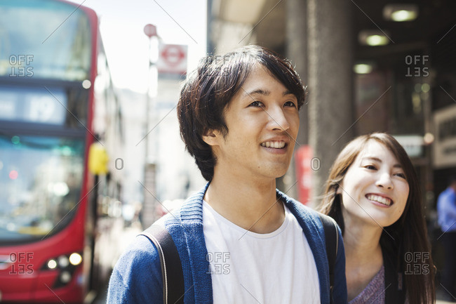 A young man and woman on a London street