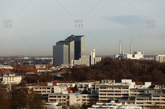 Munich - March 4, 2016: View from the rubble mountain on the Highlight Towers Munich, IBM, Germany, Bavaria, Munich,