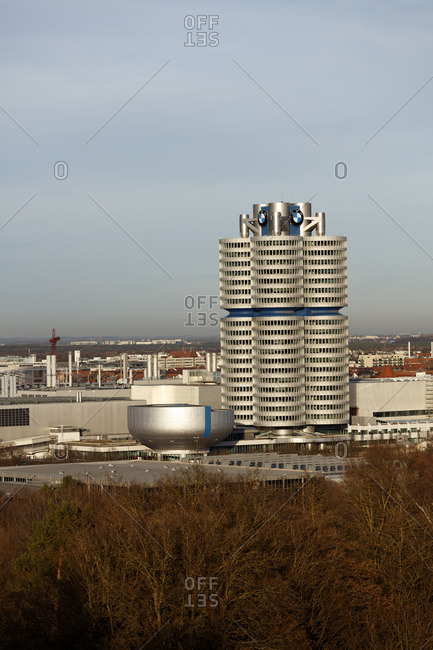 Munich - March 4, 2016: View from the rubble mountain of the Olympic park on the head office of BMW, Munich, Bavaria, Germany, winter