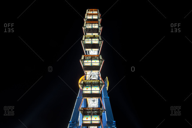 Munich - March 4, 2016: Long time exposure at night at the Oktoberfest, fairground rides