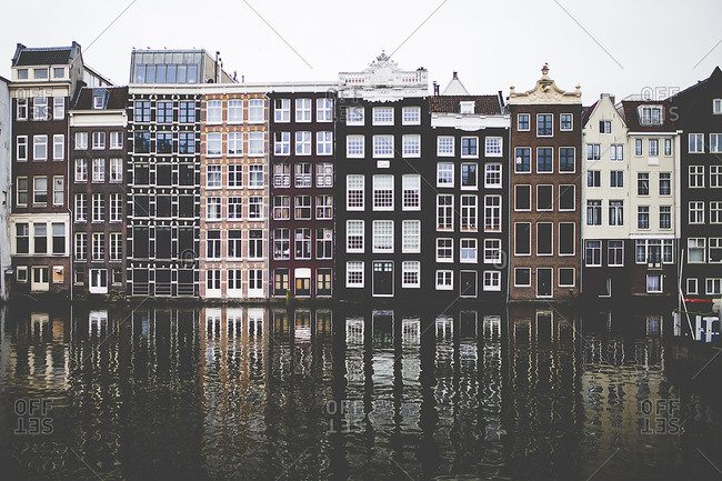 Amsterdam - March 4, 2016: Overlooking the canal houses of Amsterdam,