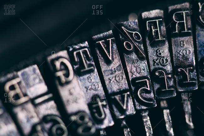 Close up of a retro typewriter