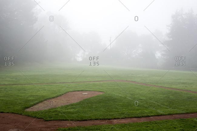 Fog over baseball field