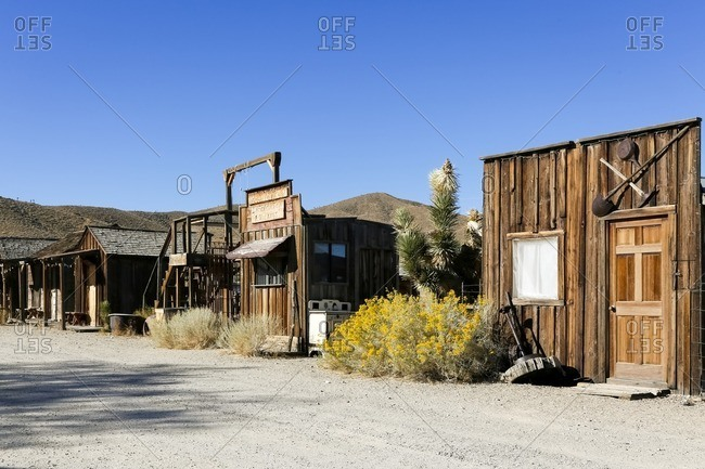 Wooden buildings in abandoned town