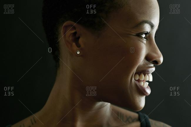 Profile of smiling Black woman