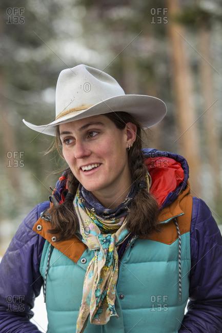 Smiling Caucasian woman in winter